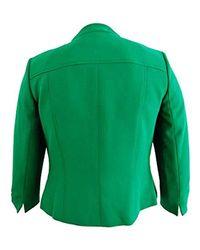 Kasper Green Stretch Crepe Solid Mandarin Collar Jacket