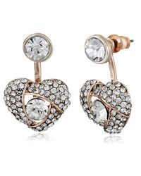 Betsey Johnson Metallic Pave Heart Rose Gold Front And Back Earrings Ear Cuffs
