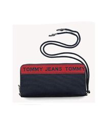 Tommy Hilfiger Blue Tommy Jeans Iris Black Wallet Logo Tape Lrg Za, 496 for men