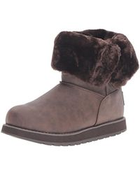 Skechers Brown Keepsakes Leatherette Mid Button Winter Boot