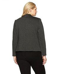 Kasper - Gray Plus Size Ponte Collarless Flyaway Jacket - Lyst
