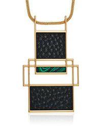 "Trina Turk Metallic Sunset Hills Pendant Necklace, 30"""