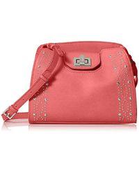 Calvin Klein Pink Clementine Mercury Leather & Celestial Stud Embellished Crossbody
