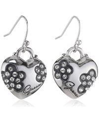 Guess Metallic Ube11212 Silver Metal Heart Earrings