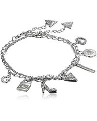 Anklet Duo with Stones, Silver Guess en coloris Metallic