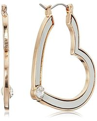 Guess Metallic S Heart Hoop Earrings With Tone Detail