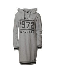 Robe Tokyo Hooded Sweat Dress Ice Marl Superdry en coloris Gray