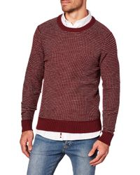 Tommy Hilfiger Pullover Honeycomb Slub Sweater Burgund in Red für Herren