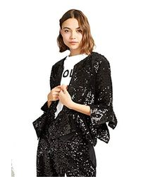 ALODIA Sequin Cropped Jacket Size 4 Black French Connection