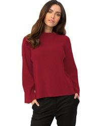 525 America - Red Ottoman Rib Sweater With Flare Sleeves In Ruby - Lyst