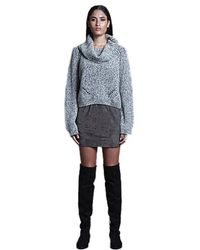 Sen Collection - Cropped Cowl Neck Sweater In Black & Natural - Lyst