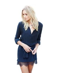 David Lerner | Blue Henley Shirt Dress With Lace In Navy | Lyst