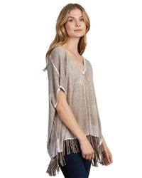 525 America - Natural Fringe Poncho In Beechwood - Lyst