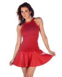 Boulee | Red Yasmine Vegan Leather & Techno Stretch Mini Dress | Lyst