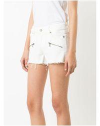 PAIGE - White Indigo Zip Short - Lyst