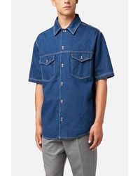 AMI Blue Oversize Denim Shirt for men