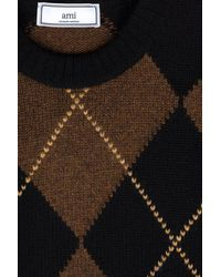 AMI - Brown Argyle Pattern Crew Neck Sweater for Men - Lyst