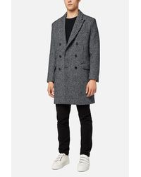 AMI - Black Lined Double Breasted Coat for Men - Lyst