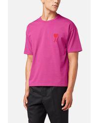 AMI Pink Big Ami De Coeur T-shirt for men