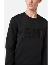 AMI Black Sweatshirt Patched Ami Letters for men