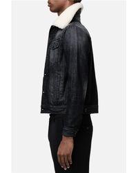 AMI Blue Shearling Collar Denim Jacket for men