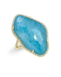 Anne Sisteron 14kt Yellow Gold Blue Apatite Nuage Diamond Ring
