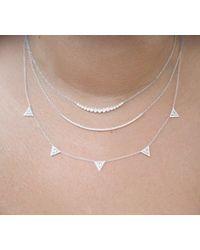 Anne Sisteron Metallic 14kt White Gold Diamond Crescent Bezel Set Necklace
