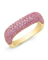 Anne Sisteron 14kt Yellow Gold Pink Sapphire Square Ring