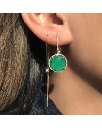 Anne Sisteron Green 14kt Yellow Gold Emerald Diamond Round Earrings
