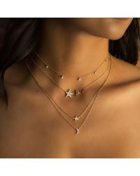 Anne Sisteron Metallic 14kt Rose Gold Diamond Star Necklace