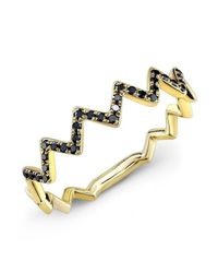 Anne Sisteron - 14kt Yellow Gold Black Diamond Zig Zag Stacking Ring - Lyst