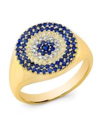 Anne Sisteron - Metallic 14kt Yellow Gold Diamond And Sapphire Disc Ring - Lyst
