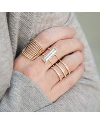 Anne Sisteron - Multicolor 14kt Rose Gold Aquamarine Diamond Beam Ring - Lyst