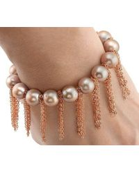 Anne Sisteron - Brown Rose Pearl Bracelet With Rose Gold-filled Fringe Chain - Lyst