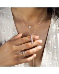 Anne Sisteron Metallic 14kt Yellow Gold Baguette Diamond Bar Lariat Necklace