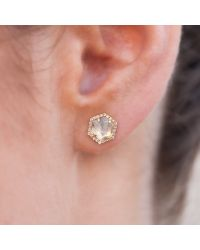 Anne Sisteron - 14kt Yellow Gold Moonstone Diamond Hexagon Stud Earrings - Lyst