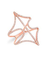 Anne Sisteron | Pink 14kt Rose Gold Diamond Web Ring | Lyst