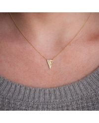 Anne Sisteron   14kt White Gold Half Diamond Long Triangle Necklace   Lyst