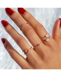 Anne Sisteron Metallic 14kt White Gold Diamond Open Heart Ring