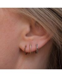 Anne Sisteron   Metallic 14kt White Gold Diamond Huggie Earrings   Lyst