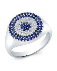 Anne Sisteron | Metallic 14kt White Gold Diamond And Sapphire Disc Ring | Lyst