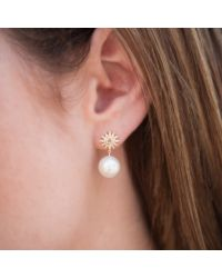 Anne Sisteron - Metallic 14kt Rose Gold Diamond Sunburst Pearl Drop Stud Earrings - Lyst