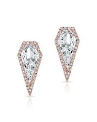 Anne Sisteron | Multicolor 14kt Rose Gold White Topaz Diamond Shield Earrings | Lyst