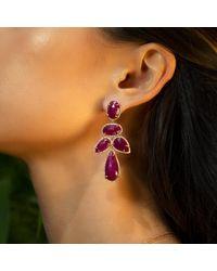 Anne Sisteron Multicolor 14kt Yellow Gold Ruby Diamond Earrings