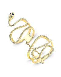 Anne Sisteron Metallic 14kt Yellow Gold Blue Sapphire Diamond Snake Connector Ring