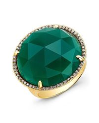 Anne Sisteron - 14kt Yellow Gold Green Agate Diamond Cocktail Ring - Lyst