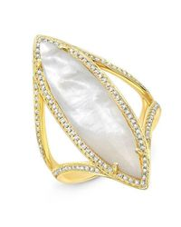 Anne Sisteron - Metallic 14kt Yellow Gold Mother Of Pearl Diamond Celeste Ring - Lyst