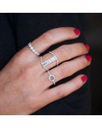 Anne Sisteron Metallic 14kt Yellow Gold Baguette Diamond H Ring