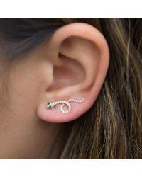 Anne Sisteron - Multicolor 14kt White Gold Emerald Diamond Snake Ear Climber - Lyst