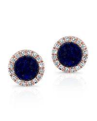 Anne Sisteron - Blue 14kt Rose Gold Lapis Lazuli Diamond Round Stud Earrings - Lyst
